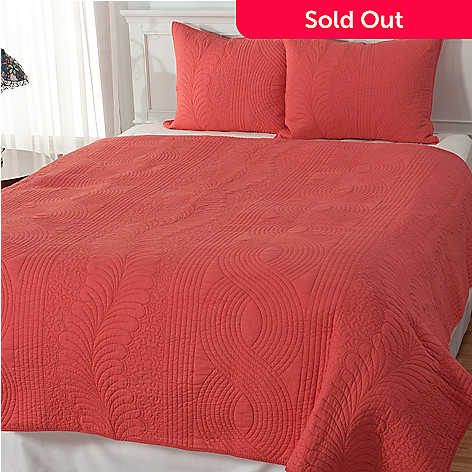 434-064 - North Shore Linens™ ''Hartford'' Cotton Three-Piece Quilt Set