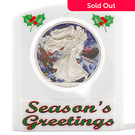 434-386 - Holiday Theme 2012 Silver BU American Eagle Santa Claus Colorized Coin