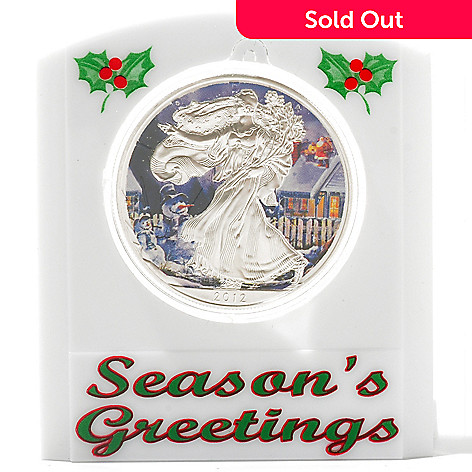 434-387 - Holiday Theme 2012 Silver BU American Eagle Snowman Colorized Coin