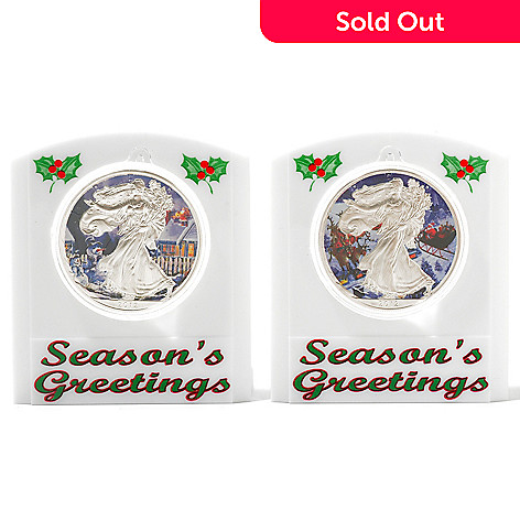 434-388 - Holiday Theme 2012 Silver BU American Eagle Two-Piece Colorized Coins