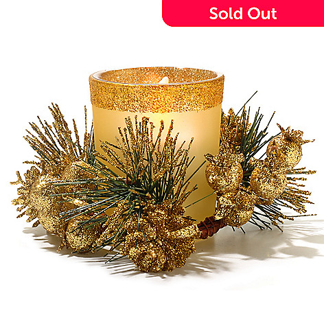 434-679 - Holiday Flameless Candle Glass Votive w/ Glitter Pine Wreath & Gift Box