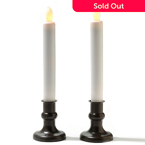 434-681 - Holiday Set of Two Flameless LED Taper Candles w/ Timer