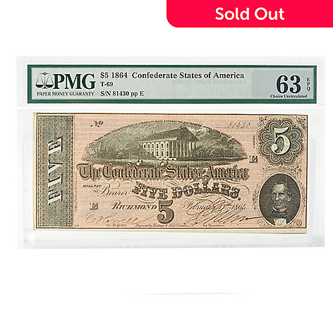 434-689 - 1864 PMG Uncirculated 63 $5 Confederate Bill