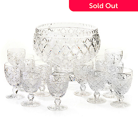434-831 - House of Waterford® Lace Limited Edition Crystal Punch Bowl w/ 12 Cups