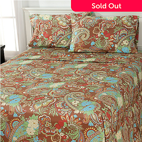 434-844 - North Shore Linens™ Paisley 300TC Cotton Four-Piece Sheet Set