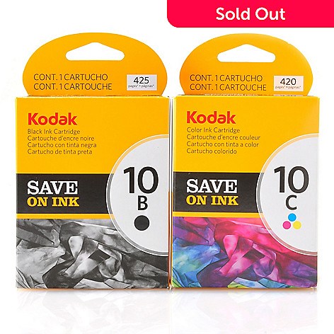 434-886 - Kodak® Two-Piece 10B/10C Black & Color Ink Cartridges