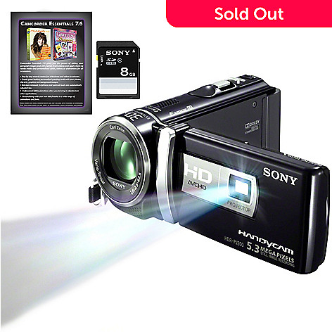 434-913 - Sony® Handycam® 25x Optical Zoom HD Camcorder w/ Built-in Projector & Accessories