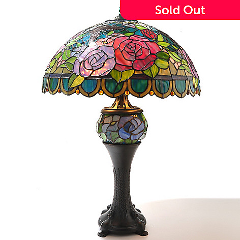 434-918 - Tiffany-Style 29.5'' Venetian Double Lit Stained Glass Table Lamp