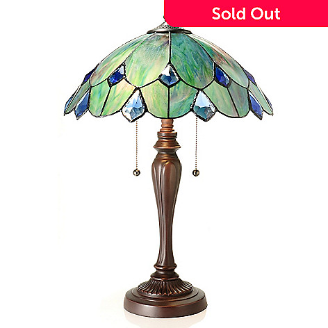 434-919 - Tiffany-Style 23'' Crystal Ocean Geometrical Stained Glass Table Lamp