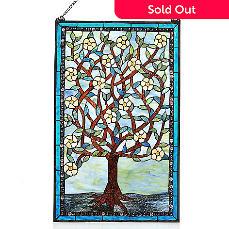 434-920 - Tiffany-Style 32'' Blossoms of Life Whimsical Stained Glass Window Panel