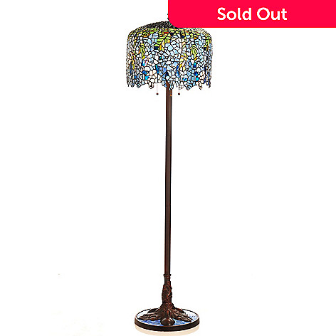434-921 - Tiffany-Style 65'' Grand Wisteria Floral Antiqued Stained Glass Floor Lamp