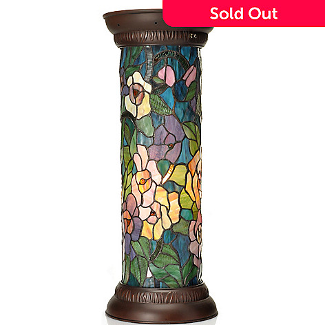 434-926 - Tiffany-Style 26.5'' Climbing Vines Floral Stained Glass Pedestal Lamp