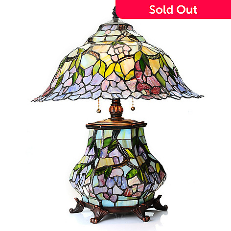 434-927 - Tiffany-Style 22'' Band of Blossoms Double Lit Stained Glass Table Lamp