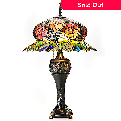 434-929 - Tiffany-Style 32'' Midnight Rose Double Lit Stained Glass Table Lamp
