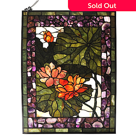 434-933 - Style at Home with Margie 32'' Jade Lotus Flower Stained Glass Window Panel