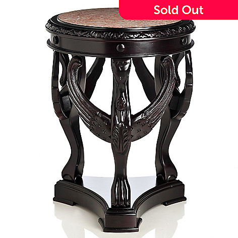 434-938 - Style at Home with Margie 28'' Swan Foyer Hand-Carved Marble Top Table