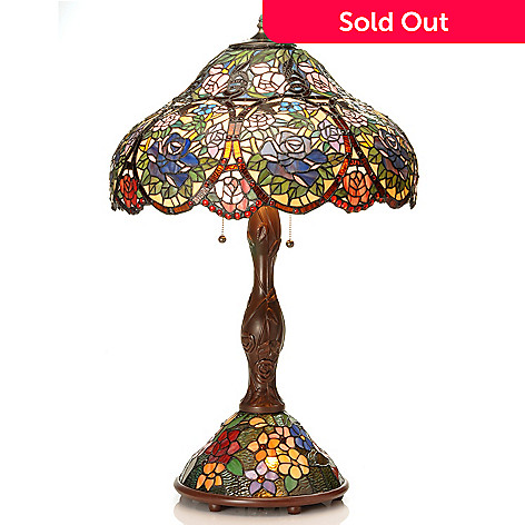 434-956 - Tiffany-Style 32'' Circle of Roses Double Lit Stained Glass Table Lamp