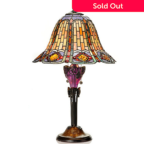 434-958 - Tiffany-Style 26.5'' Scarlet Jewels Geometrical Stained Glass Table Lamp