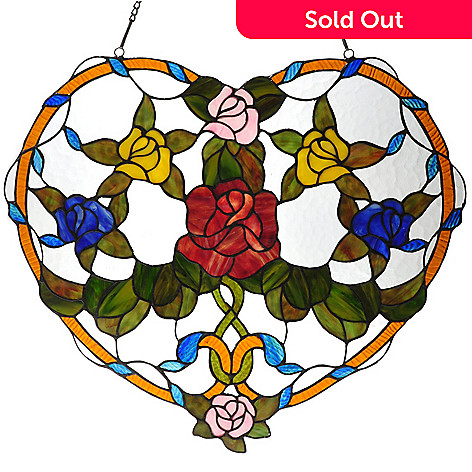 434-960 - Tiffany-Style 20'' Floral Heart Stained Glass Window Panel