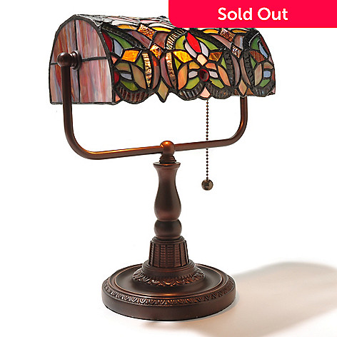 434-964 - Tiffany-Style 13'' Fleur-de-lis Banker's Stained Glass Accent Lamp