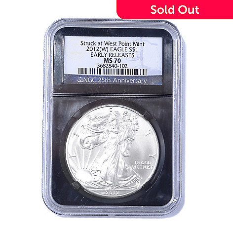 435-052 - 2012 Silver American Eagle MS70 NGC ER Coin w/ Retro Black Label Holder