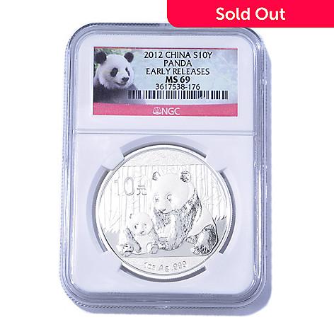 435-055 - 2012 1 oz Silver NGC MS69 ER China Panda 10 Yuan Coin
