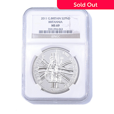 435-057 - 2011 1 oz Silver NGC MS69 2 Pounds Great Britain Britannia Coin