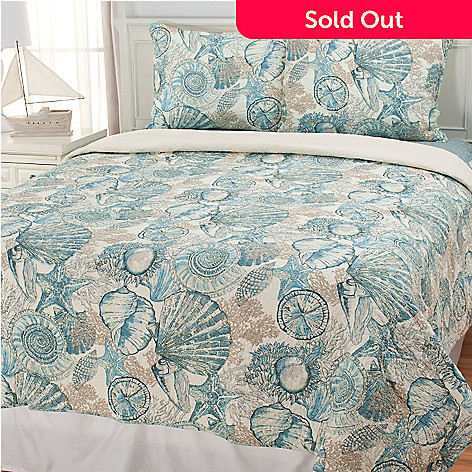 435-126 - North Shore Linens™ ''Brushed Ashore'' Cotton Three-Piece Quilt Set