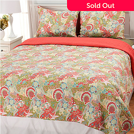 435-130 - North Shore Linens™ ''Summer Escape'' Cotton Three-Piece Quilt Set