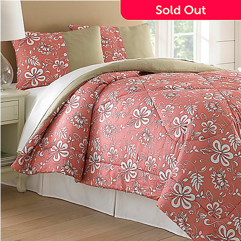 435-161 - North Shore Linens™ ''Hibiscus'' Seersucker Three-Piece Comforter Set