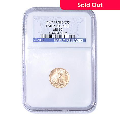 435-216 - 2007 Gold Eagle NGC MS70 ER $5 Coin