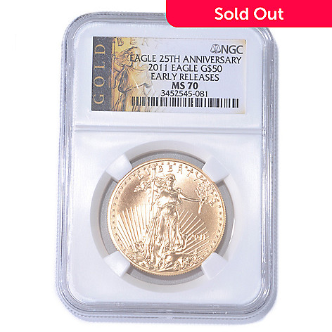 435-221 - 25th Anniversary 2011 Gold Eagle NGC MS70 ER $50 Coin