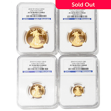 435-223 - 2010 Gold Eagle PF70 Ultra Cameo NGC Early Release Set of Four Coins