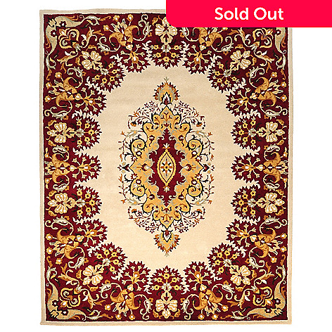 435-403 - Global Rug Gallery Feathered Medallion 8' x 10' Hand Tufted Wool Rug