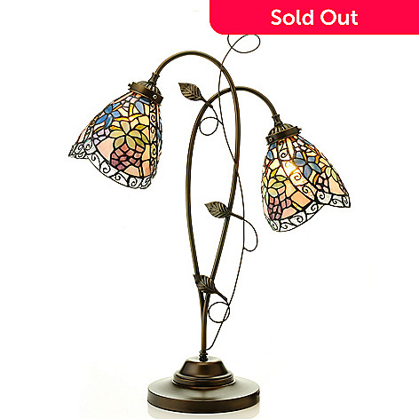 435-417 - Tiffany-Style 28.25'' Swirling Vineyard Stained Glass Table Lamp