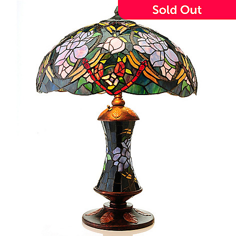 435-419 - Tiffany-Style 24.5'' Starlite Rose Double Lit Stained Glass Table Lamp