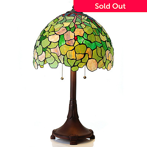 435-420 - Tiffany-Style 27.5'' Snowball Dome Shaped Stained Glass Table Lamp