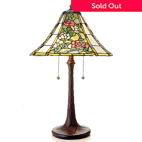 435-422 - Tiffany-Style 25'' Pillar of Roses Antiqued Stained Glass Table Lamp