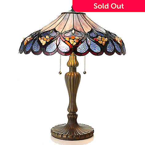 435-426 - Tiffany-Style 25.5'' Rippled Pebbles Whimsical Stained Glass Table Lamp