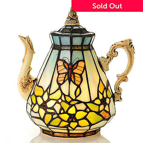 435-427 - Tiffany-Style 8.75'' Butterfly Floral Teapot Stained Glass Accent Lamp