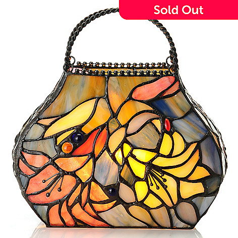 435-429 - Tiffany-Style 8'' Day Lily Purse Stained Glass Accent Lamp