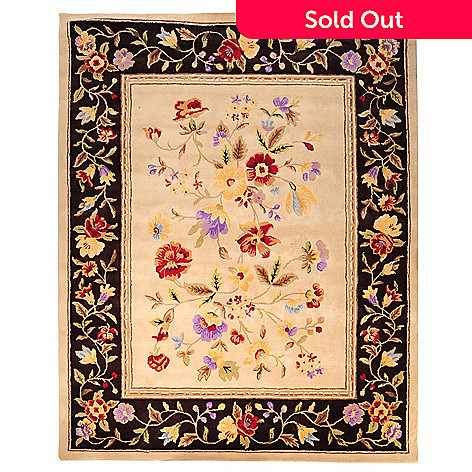 435-431 - Global Rug Gallery Floral Blossoms Hand Tufted 100% Wool Rug