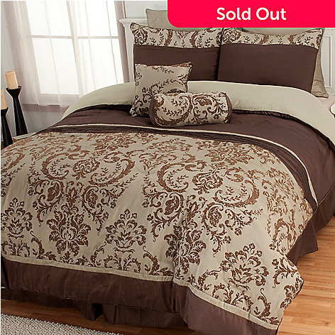 435-539 - North Shore Linens™ Flocked Leaf Paisley Eight-Piece Bedding Ensemble