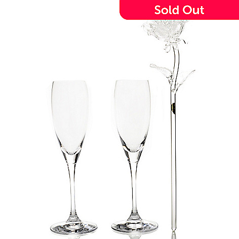 435-544 - Waterford Crystal Mondavi Set of Two Flutes w/ Crystal Rose