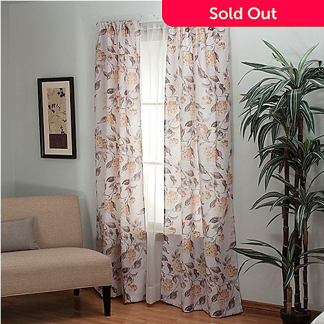 435-551 - Laura Ashley® ''Hydrangea'' Microfiber Window Panel Pair
