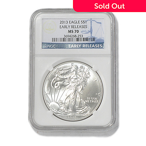 435-584 - 2013 Silver American Eagle NGC MS70 Early Release One Dollar Coin