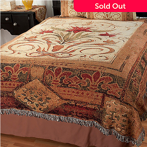435-653 - Crimson Blossom Tapestry Coverlet