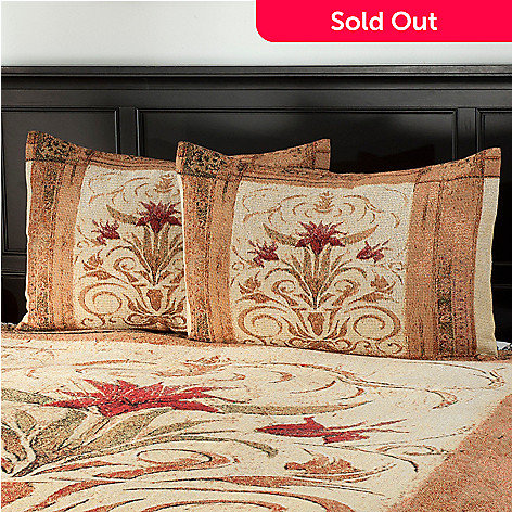 435-654 - Crimson Blossom Cotton Tapestry Pillow Sham Pair