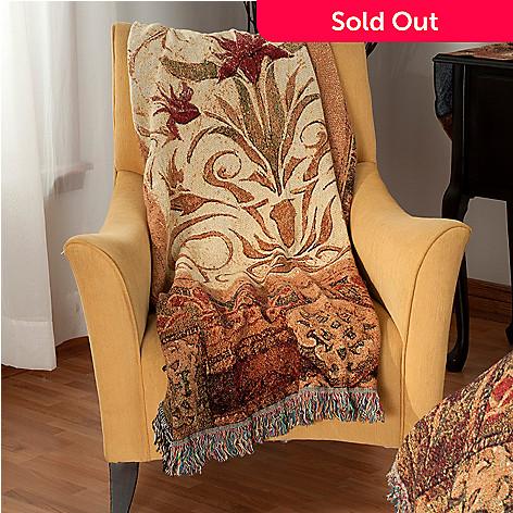 435-655 - Crimson Blossom 68'' x 51'' Cotton Tapestry Throw