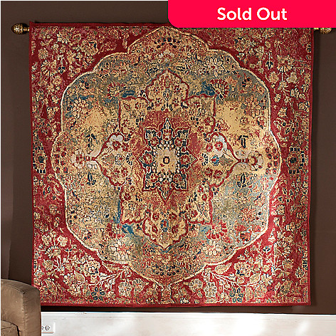 435-664 - ''Grand Bazaar'' Abstract Floral 70'' x 70'' Tapestry w/ 80'' Adjustable Rod